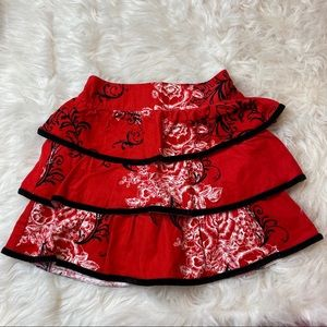 Hartstrings red, black & white corduroy skirt